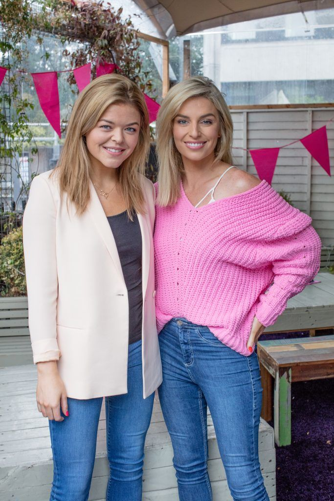 Doireann Garrihy & Pippa O'Connor pictured at the launch of Centra's Cups Against Cancer event in the Lock 6 Cafe, Dublin. Photo: Anthony Woods