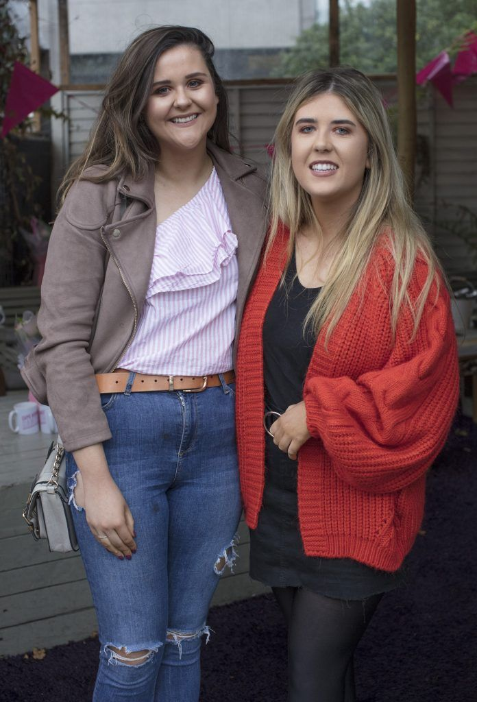 Chloe Higgins & Ella Jane Nolan pictured at the launch of Centra's Cups Against Cancer event in the Lock 6 Cafe, Dublin. Photo: Anthony Woods
