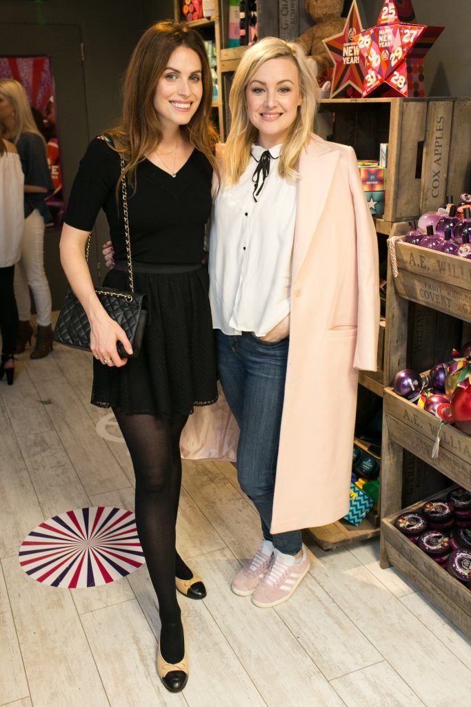 Holly White and Laura Cunningham pictured in the flagship store on Grafton Street, Dublin 2 on October 4th. Guests enjoyed the unveiling of The Body Shop's Christmas campaign #PlayforPeace in aid of young Syrian refugees and tried out their new Christmas product range