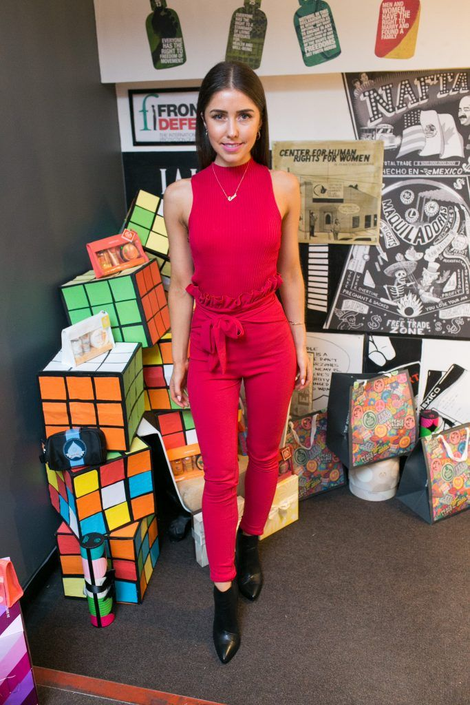 Erica Bracken pictured in the flagship store on Grafton Street, Dublin 2 on October 4th. Guests enjoyed the unveiling of The Body Shop's Christmas campaign #PlayforPeace in aid of young Syrian refugees and tried out their new Christmas product range