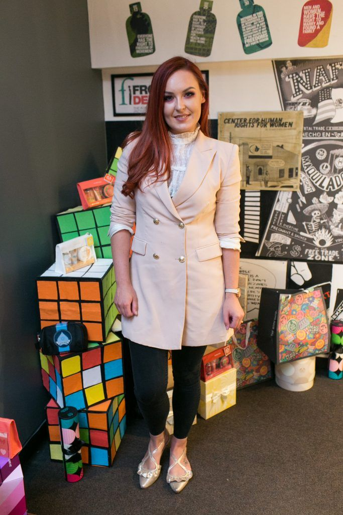 Lauren Malone pictured in the flagship store on Grafton Street, Dublin 2 on October 4th. Guests enjoyed the unveiling of The Body Shop's Christmas campaign #PlayforPeace in aid of young Syrian refugees and tried out their new Christmas product range