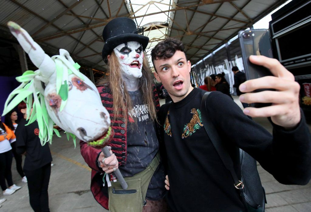 James Kavanagh with 'Charlie Chop' at the launch of The Nightmare Realm, which takes place at The RDS until November 5. Photo: Mark Stedman