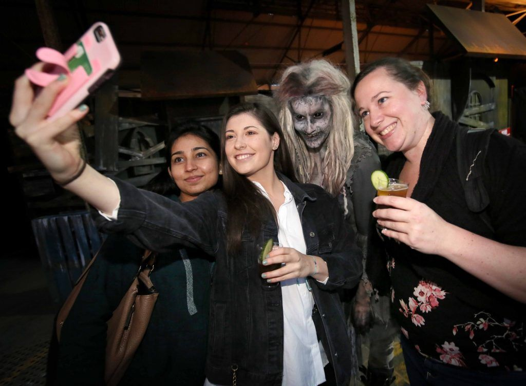 Hema Gurjer, Breanne Nolan and Emily Blackburn at the launch of The Nightmare Realm, which takes place at The RDS until November 5. Photo: Mark Stedman