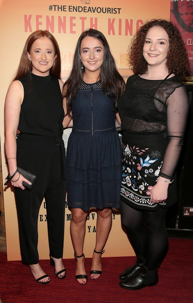Kate Shannon ,Niamh Shannon and Amelia McGuinness at the launch of Kenneth King's book The Endeavourist at Lillies Bordello, Dublin. Pic: Brian McEvoy