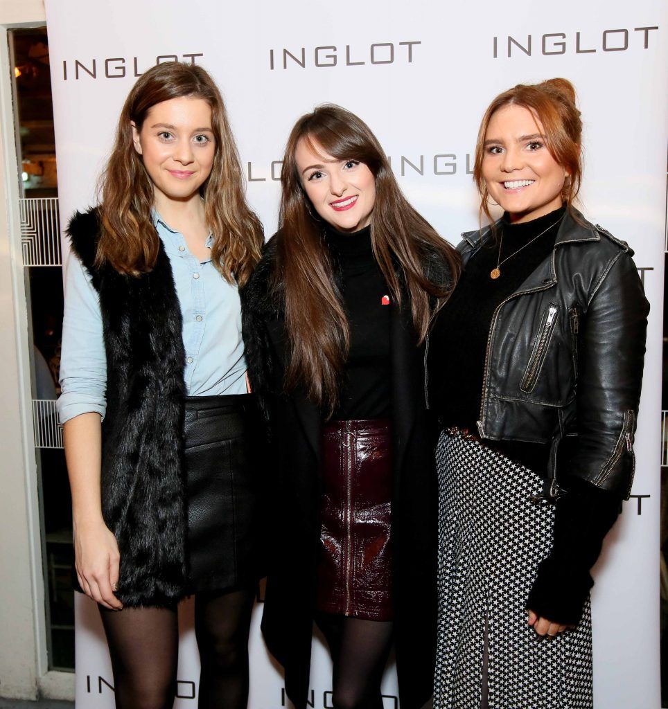 """Lauren O'Hanlon, Rebecca Brennan and Amy Heffernan at the launch of Inglot Christmas Gift Guide and new """"Italian Kiss Collection"""" hosted by @janeinglot in House Dublin. Photo: Mark Stedman"""
