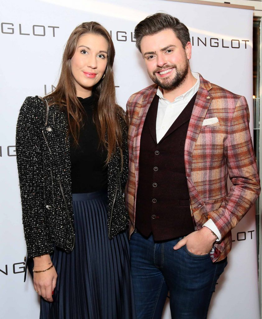 """Clementine MacNeice and James Patrice at the launch of Inglot Christmas Gift Guide and new """"Italian Kiss Collection"""" hosted by @janeinglot in House Dublin. Photo: Mark Stedman"""