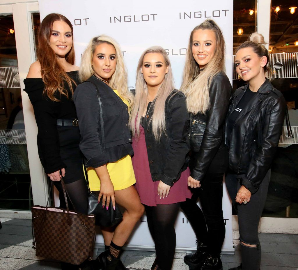 """Shannon Leathen, Niamh Cleary, Becky Timlin, Keilidh Cashell and Maria Murphy at the launch of Inglot Christmas Gift Guide and new """"Italian Kiss Collection"""" hosted by @janeinglot in House Dublin. Photo: Mark Stedman"""