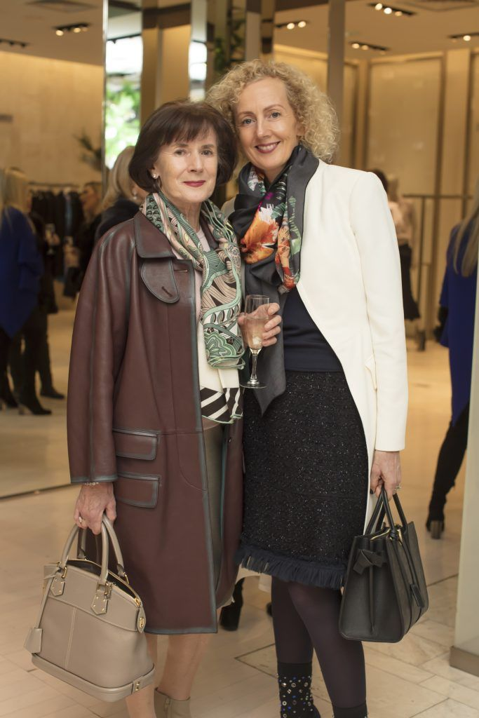 Anne Moriarty & Linda Shine pictured at the Maticevski designer event at Brown Thomas Dublin. Australian designer Toni Maticevski met with guests and previewed his stunning new S/S '18 collection in The Designer Rooms. Photo: Anthony Woods