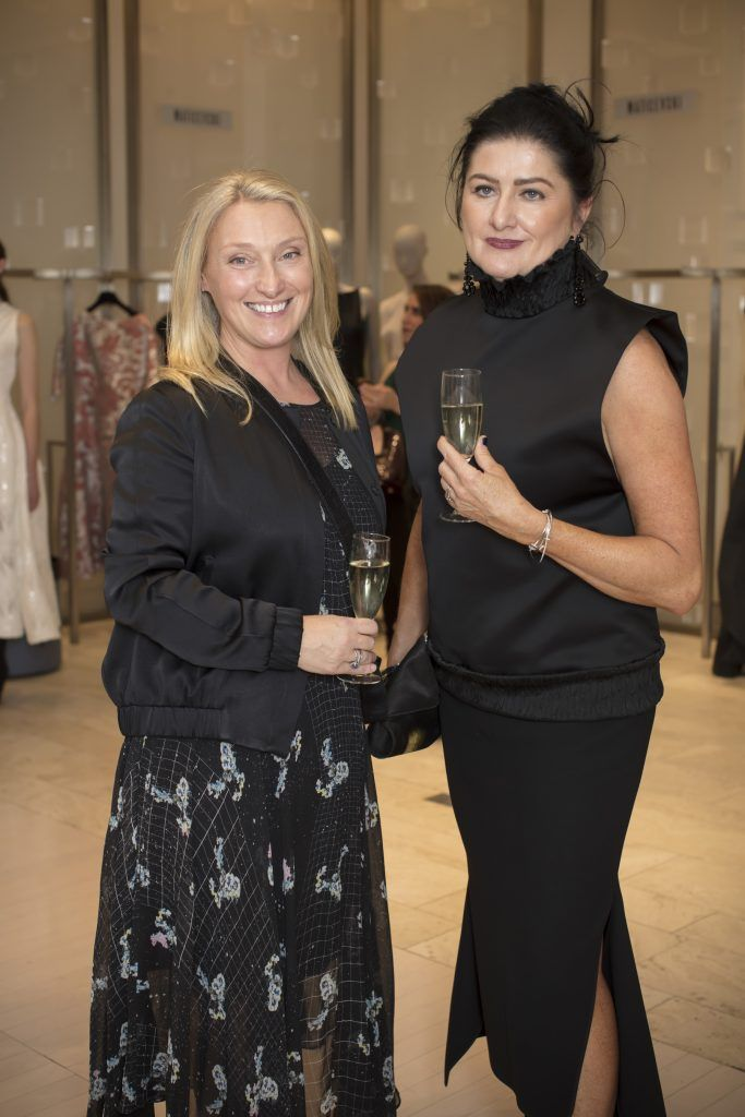 Cliona Gough & Antoinette Grace pictured at the Maticevski designer event at Brown Thomas Dublin. Australian designer Toni Maticevski met with guests and previewed his stunning new S/S '18 collection in The Designer Rooms. Photo: Anthony Woods
