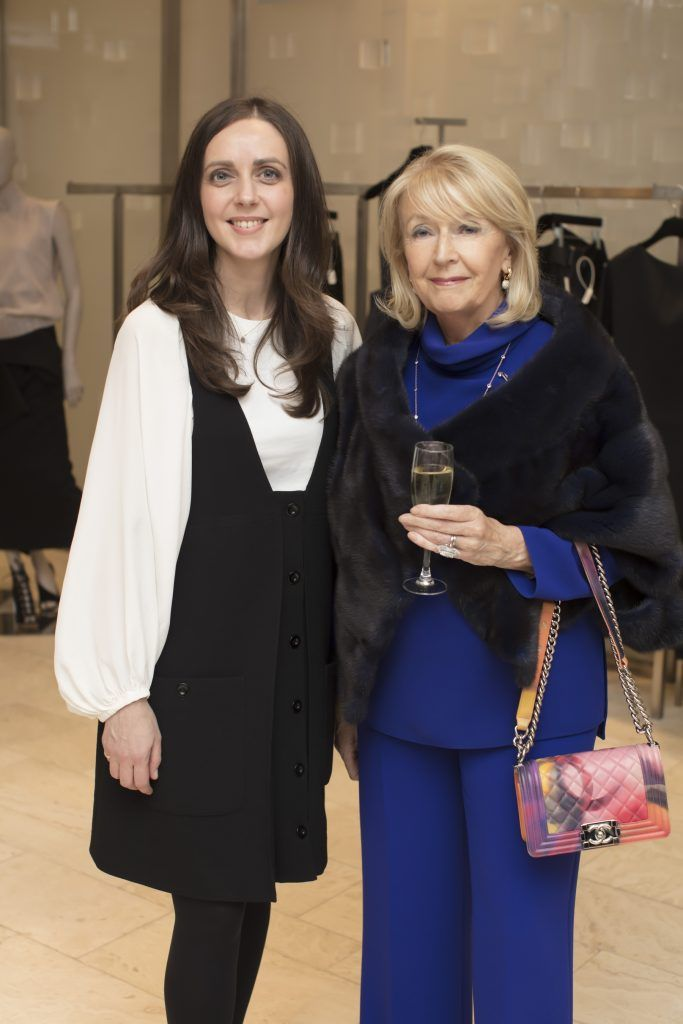 Michelle Curtin & Esther McGahon pictured at the Maticevski designer event at Brown Thomas Dublin. Australian designer Toni Maticevski met with guests and previewed his stunning new S/S '18 collection in The Designer Rooms. Photo: Anthony Woods