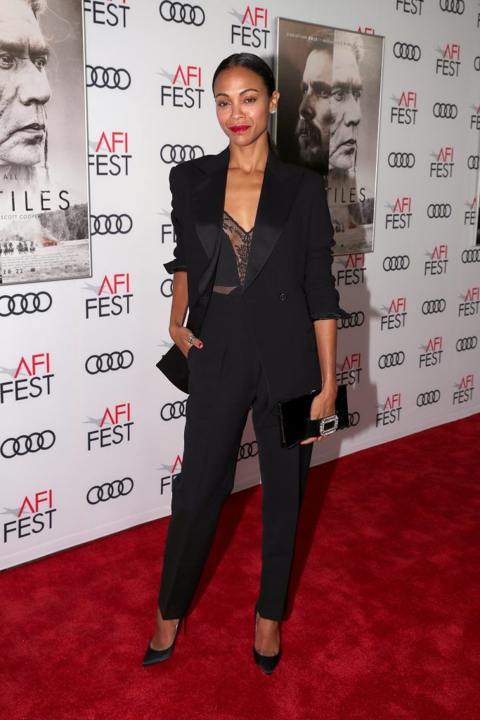 "Zoe Saldana attends the screening of ""Hostiles"" at AFI FEST 2017 Presented By Audi at TCL Chinese Theatre on November 14, 2017 in Hollywood, California.  (Photo by Christopher Polk/Getty Images for AFI)"