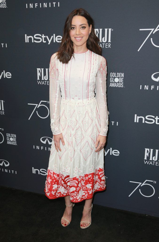 Aubrey Plaza attends the Hollywood Foreign Press Association and InStyle celebrate the 75th Anniversary of The Golden Globe Awards at Catch LA on November 15, 2017 in West Hollywood, California.  (Photo by Rich Fury/Getty Images)