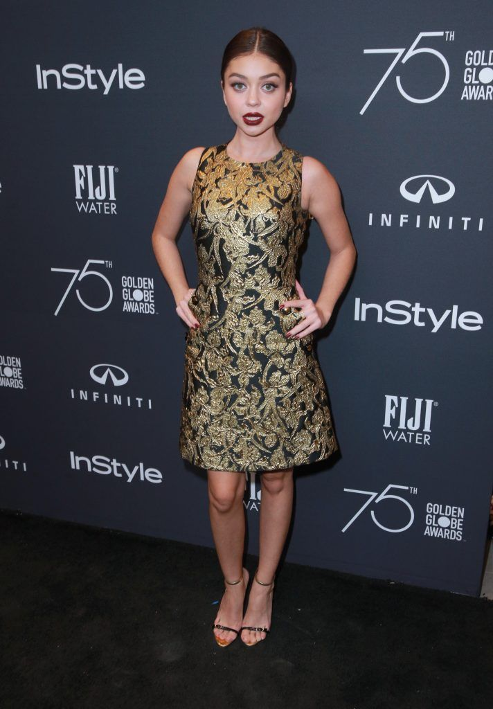 Sarah Hyland attends the Hollywood Foreign Press Association and InStyle celebrate the 75th Anniversary of The Golden Globe Awards at Catch LA on November 15, 2017 in West Hollywood, California.  (Photo by Rich Fury/Getty Images)