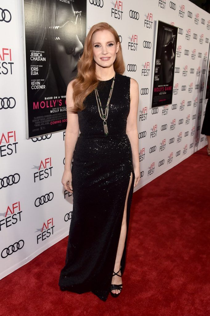 "Jessica Chastain attends the screening of ""Molly's Game"" at the Closing Night Gala at AFI FEST 2017 Presented By Audi at TCL Chinese Theatre on November 16, 2017 in Hollywood, California.  (Photo by Alberto E. Rodriguez/Getty Images for AFI)"