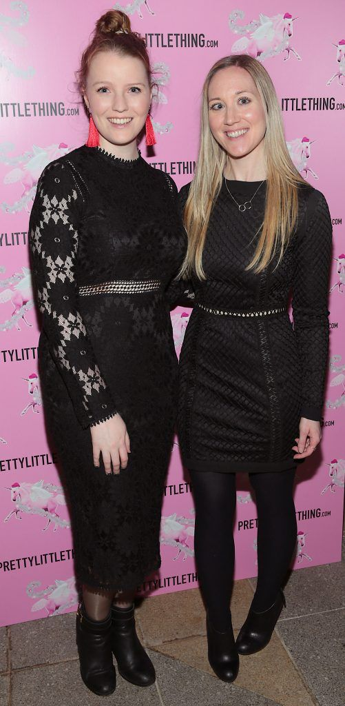 Leah Kilcullen and Aine Goodman pictured at the PrettyLittleThing party at the Opium Rooms, Dublin. Photo: Brian McEvoy