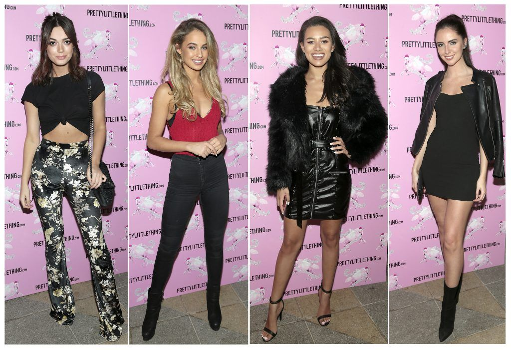 Jo Arch Bold, Thalia Heffernan, Montana Brown and Jess Hayes  pictured at the PrettyLittleThing party at the Opium Rooms, Dublin. Photo: Brian McEvoy