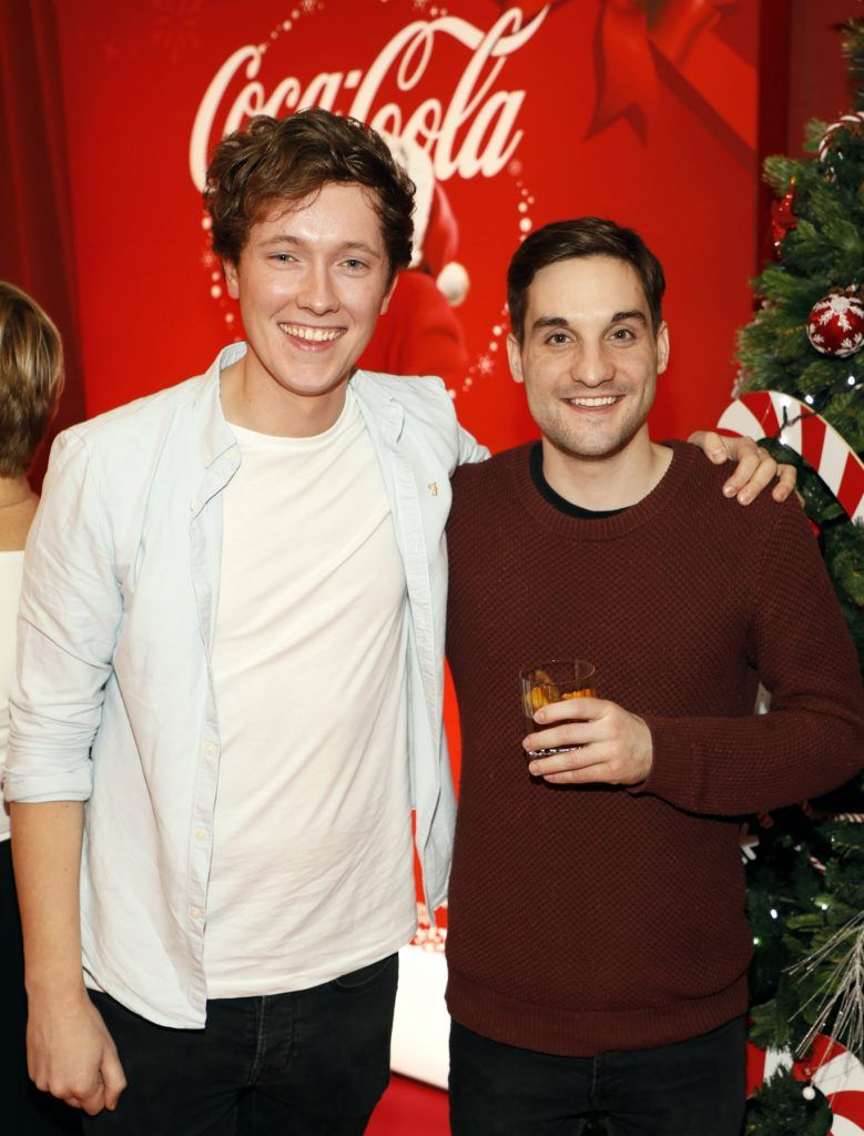 Adrian Martin and Greg O'Donoghue at Coca-Cola's #wrappedwithlove pop-up shop launch on 6th December 2017 at 57 South William Street, Dublin 2-photo Kieran Harnett