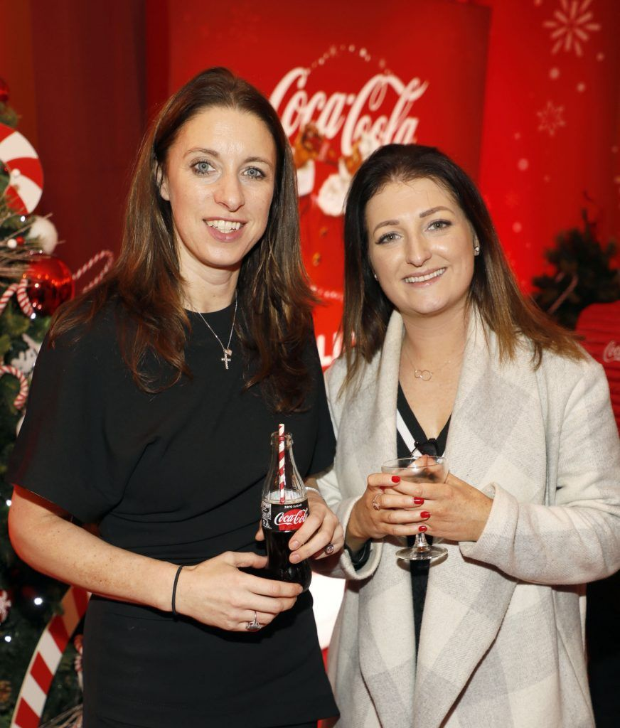 Angie Kinane and Ciara Cashen at Coca-Cola's #wrappedwithlove pop-up shop launch on 6th December 2017 at 57 South William Street, Dublin 2-photo Kieran Harnett