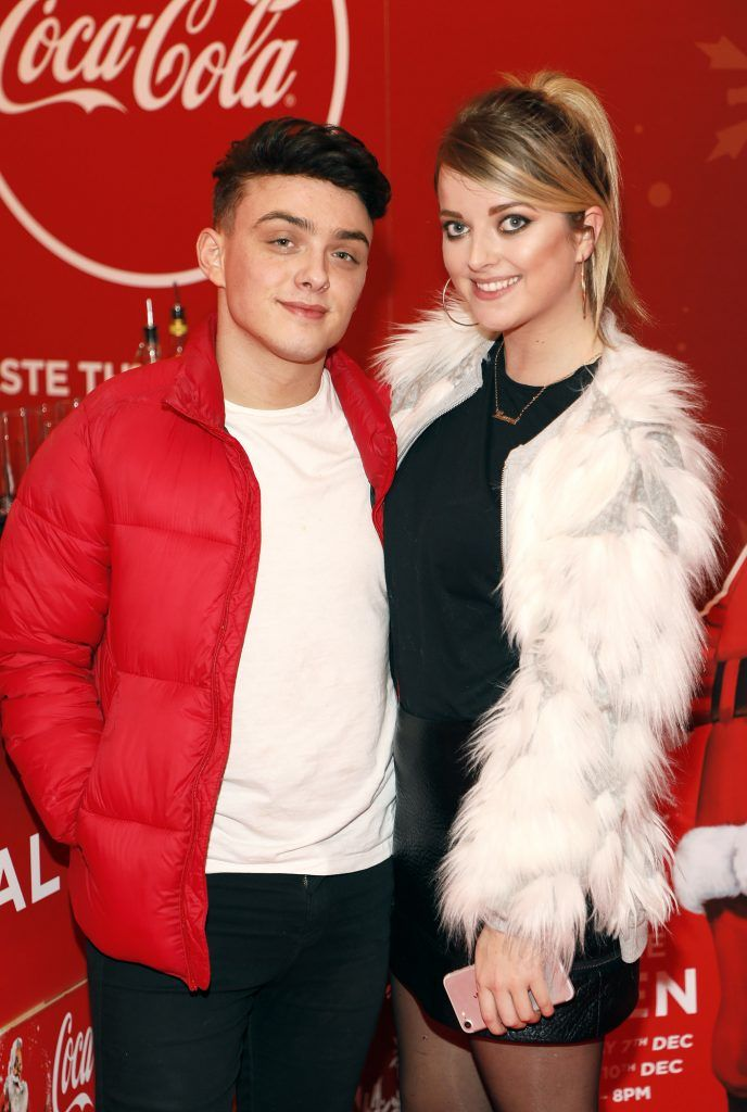 Mike Gibson and Laura Connell at Coca-Cola's #wrappedwithlove pop-up shop launch on 6th December 2017 at 57 South William Street, Dublin 2-photo Kieran Harnett