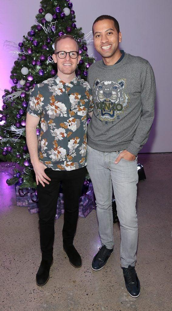 Brendan O Loughlin and Sean Munsanje at the Urban Decay Naked Palette Christmas Celebration at Chancery Lane, Dublin. Photo: Brian McEvoy