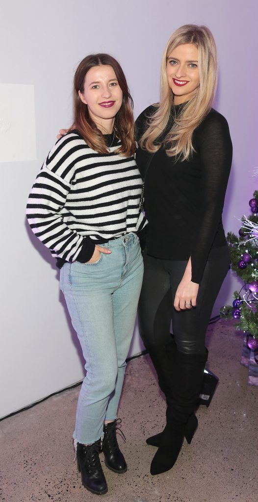 Alex Quinn and Becky Johnston at the Urban Decay Naked Palette Christmas Celebration at Chancery Lane, Dublin. Photo: Brian McEvoy