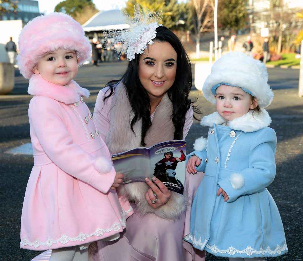 Kirstie Muldowney from Derry with daughters Darcy and Brooke at the Cliff Style awards at the Leopardstown Christmas Racing Festival 2017. Photo: Brian McEvoy