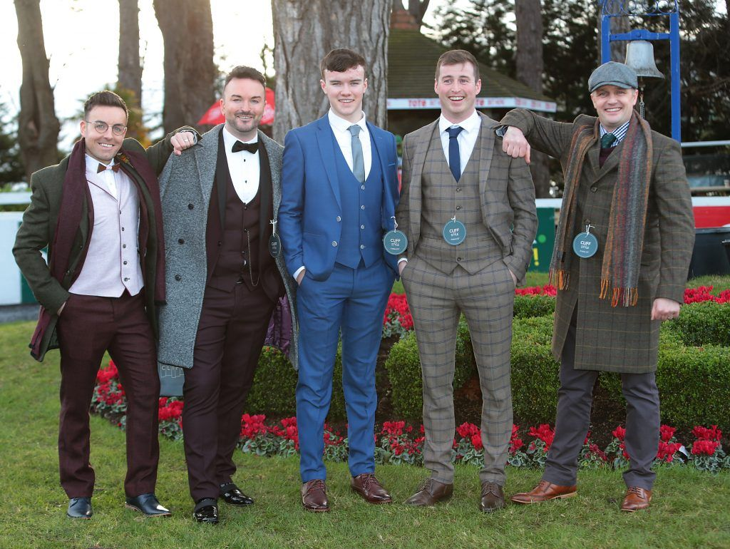 Finalists in the Most Stylish Man Competition at the Cliff Style awards at the Leopardstown Christmas Racing Festival 2017. Photo: Brian McEvoy