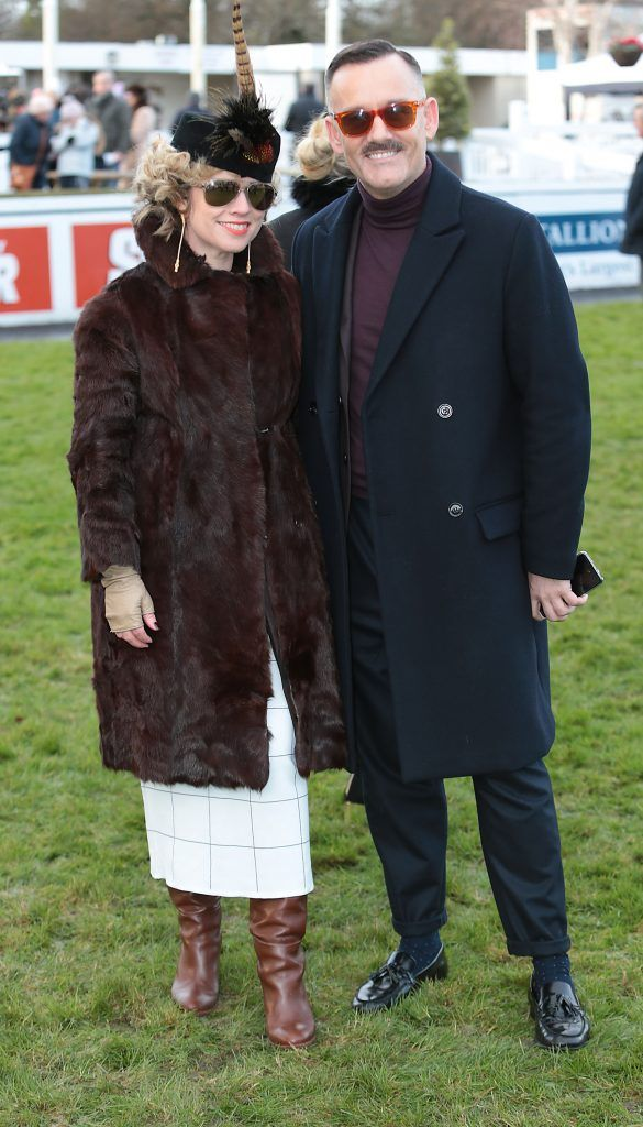 Judges Sonya Lennon and Brendan Courtney at the Cliff Style awards at the Leopardstown Christmas Racing Festival 2017. Photo: Brian McEvoy
