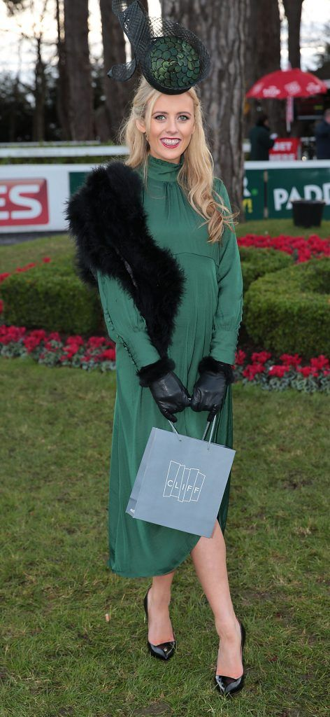 Sinead Leonard from Beaumont, Dublin wearing a dress from Zara and a hat by Aoife Kirwan - Winner of  Most Stylish lady at the Leopardstown Christmas Racing Festival 2017. Photo: Brian McEvoy