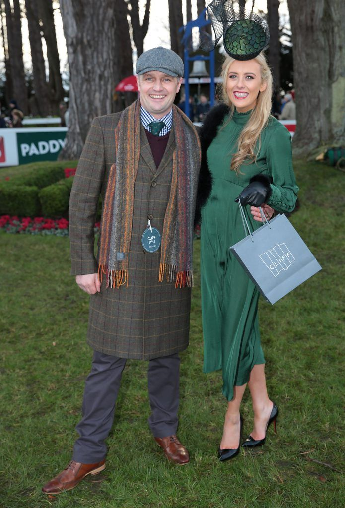 Neil Moody from Omagh -Winner of the Most Stylish Man and Sinead Leonard from Beaumont, Dublin wearing a dress from Zara and a hat by Aoife Kirwan - Winner of  Most Stylish lady at the Leopardstown Christmas Racing Festival 2017. Photo: Brian McEvoy