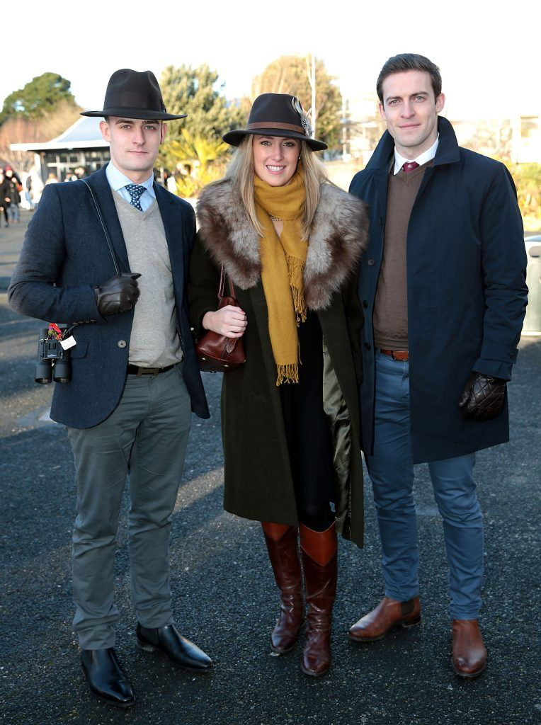 David Murphy, Sarah Phelan and Harry Murphy at the Cliff Style awards at the Leopardstown Christmas Racing Festival 2017. Photo: Brian McEvoy