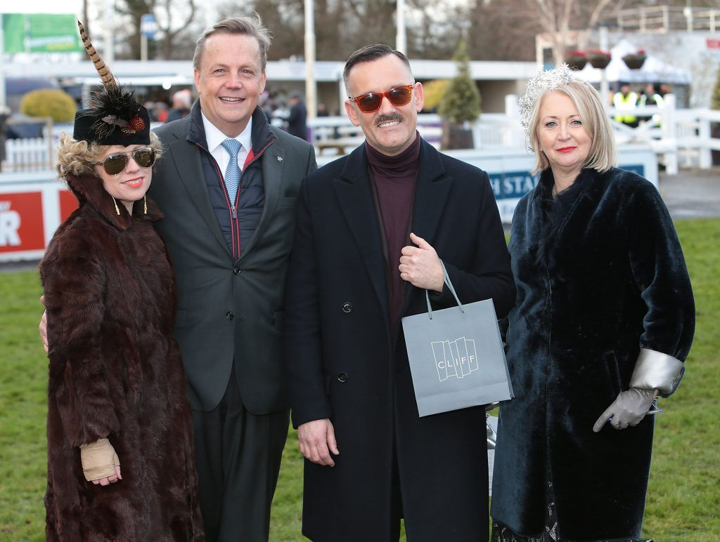 Sonya Lennon, Adriaan Bartels of Cliff Group, Brendan Courtney and Bairbre Power at the Cliff Style awards at the Leopardstown Christmas Racing Festival 2017. Photo: Brian McEvoy