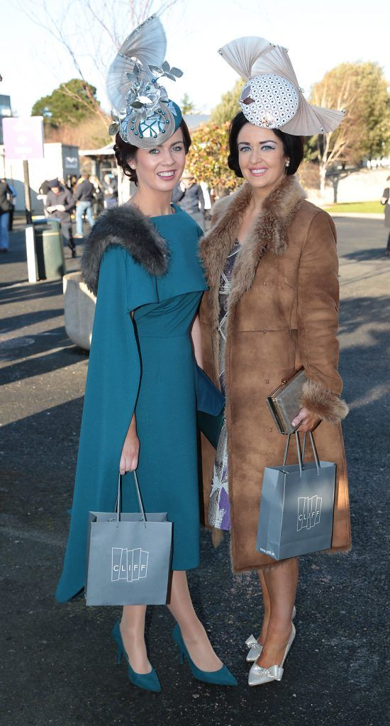 Sarah McEvoy and Ali Mcparland at the Cliff Style awards at the Leopardstown Christmas Racing Festival 2017. Photo: Brian McEvoy