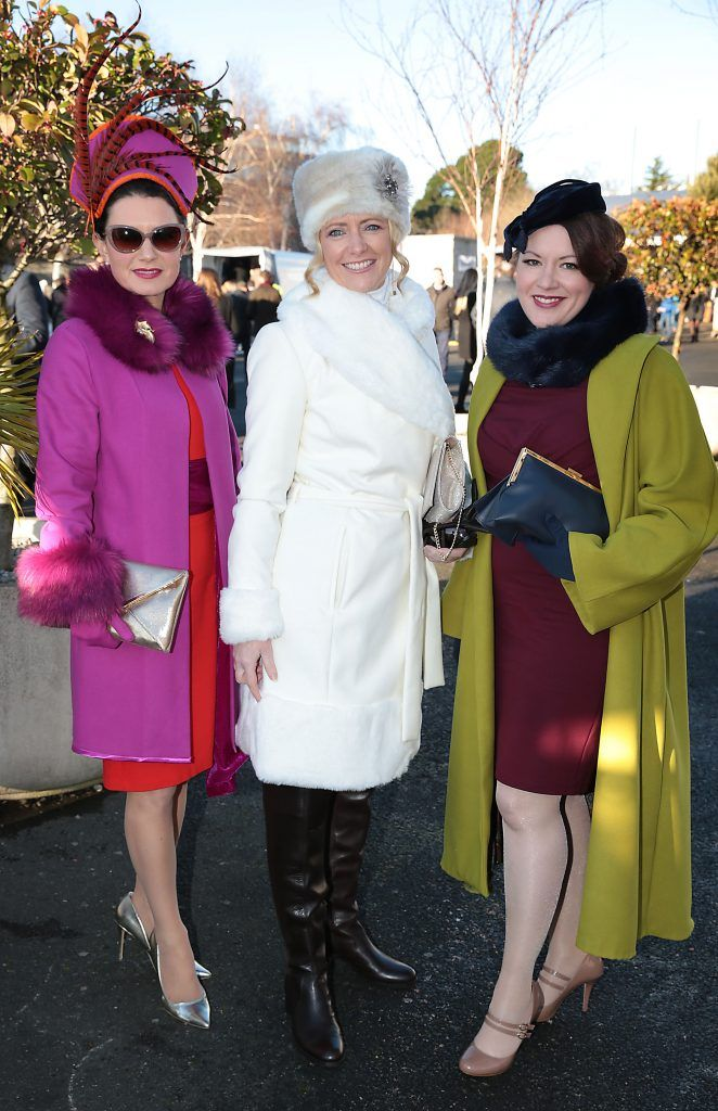 Deirdre Kane, Grainne Alexander and Leanne O Shea at the Cliff Style awards at the Leopardstown Christmas Racing Festival 2017. Photo: Brian McEvoy