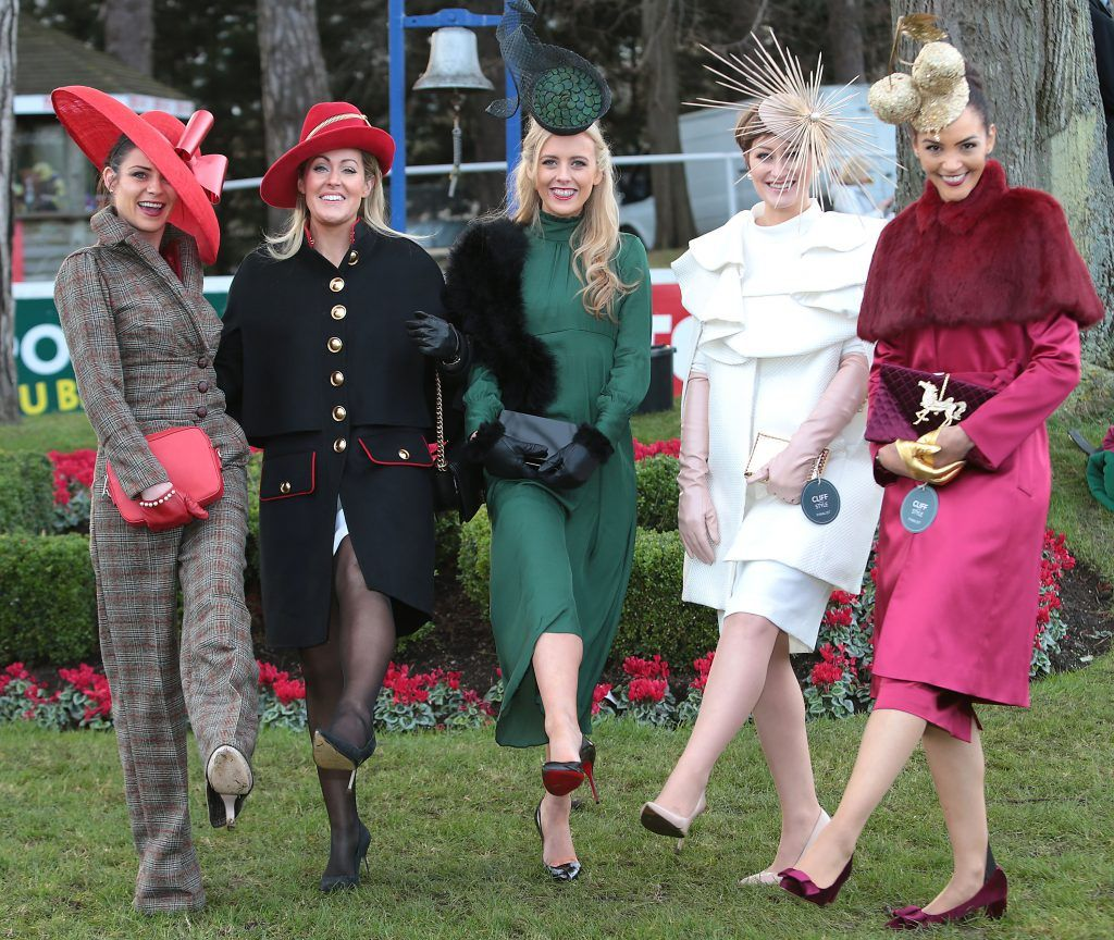 Sinead Leonard from Beaumont, Dublin (Centre)-Winner of  Most Stylish lady at the Cliff Style awards at the Leopardstown Christmas Racing Festival with finalists, Anna Maguire, Jane Mulrooney, Laura Hanlon and Linda Malone. Photo: Brian McEvoy