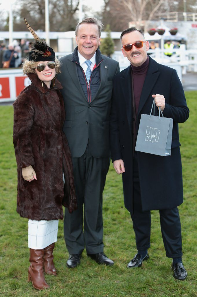 Sonya Lennon, Adriaan Bartels and Brendan Courtney at the Cliff Style awards at the Leopardstown Christmas Racing Festival 2017. Photo: Brian McEvoy