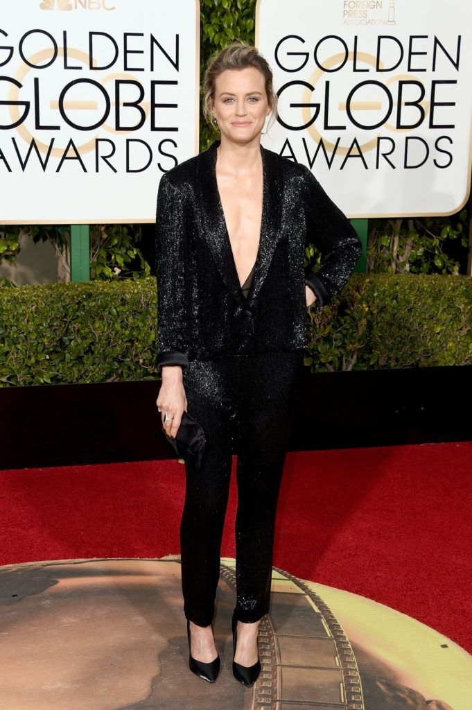BEVERLY HILLS, CA - JANUARY 10:  Actress Taylor Schilling attends the 73rd Annual Golden Globe Awards held at the Beverly Hilton Hotel on January 10, 2016 in Beverly Hills, California.  (Photo by Jason Merritt/Getty Images)