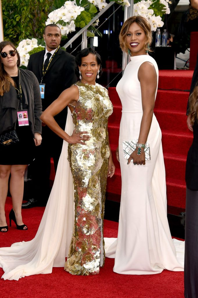 BEVERLY HILLS, CA - JANUARY 10:  Actresses Regina King (L) and Laverne Cox attend the 73rd Annual Golden Globe Awards held at the Beverly Hilton Hotel on January 10, 2016 in Beverly Hills, California.  (Photo by Jason Merritt/Getty Images)