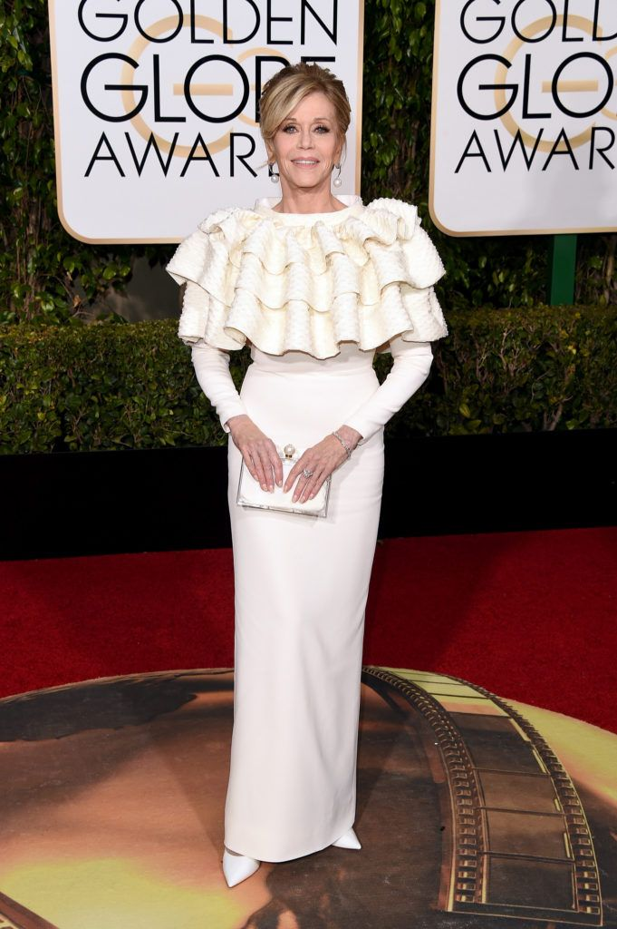 BEVERLY HILLS, CA - JANUARY 10:  Actress Jane Fonda attends the 73rd Annual Golden Globe Awards held at the Beverly Hilton Hotel on January 10, 2016 in Beverly Hills, California.  (Photo by Jason Merritt/Getty Images)