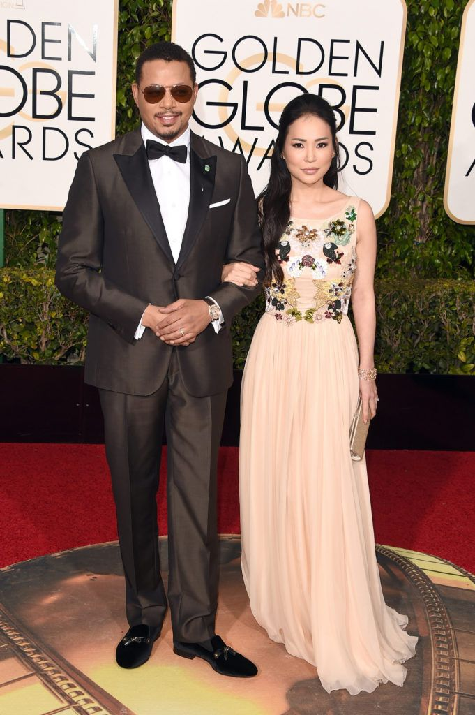 BEVERLY HILLS, CA - JANUARY 10:  Actor Terrence Howard and Mira Pak attend the 73rd Annual Golden Globe Awards held at the Beverly Hilton Hotel on January 10, 2016 in Beverly Hills, California.  (Photo by Jason Merritt/Getty Images)