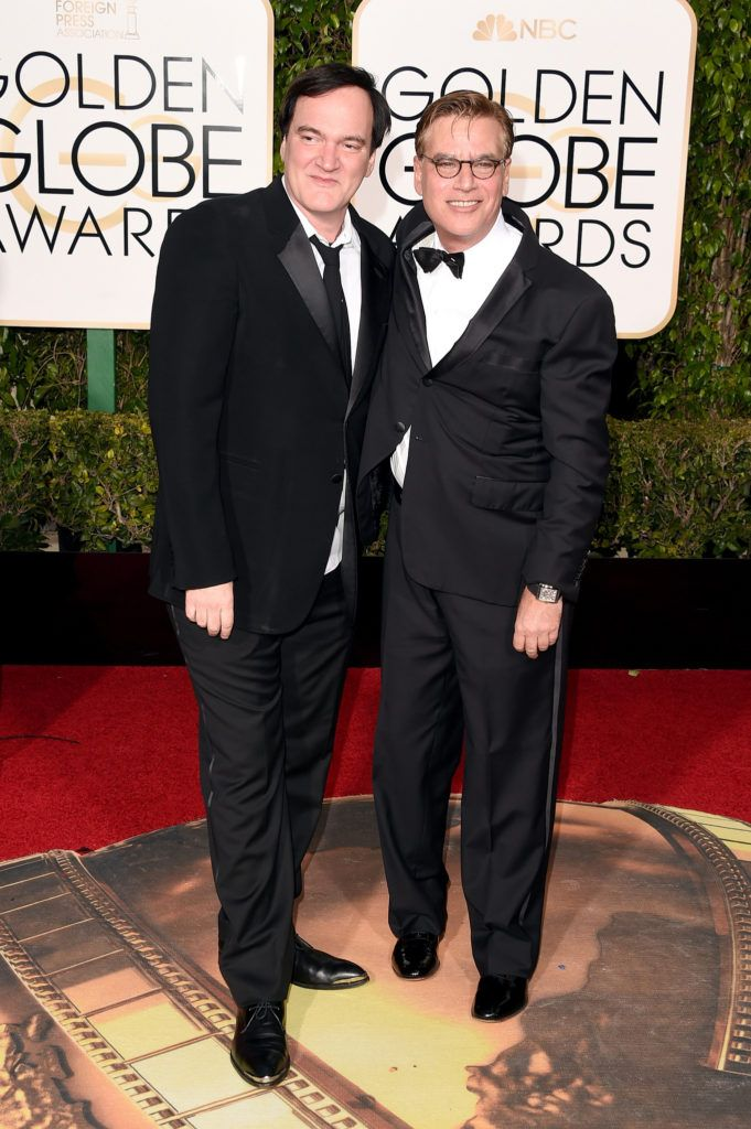 BEVERLY HILLS, CA - JANUARY 10:  Director Quentin Tarantino (L) and screenwriter Aaron Sorkin attend the 73rd Annual Golden Globe Awards held at the Beverly Hilton Hotel on January 10, 2016 in Beverly Hills, California.  (Photo by Jason Merritt/Getty Images)