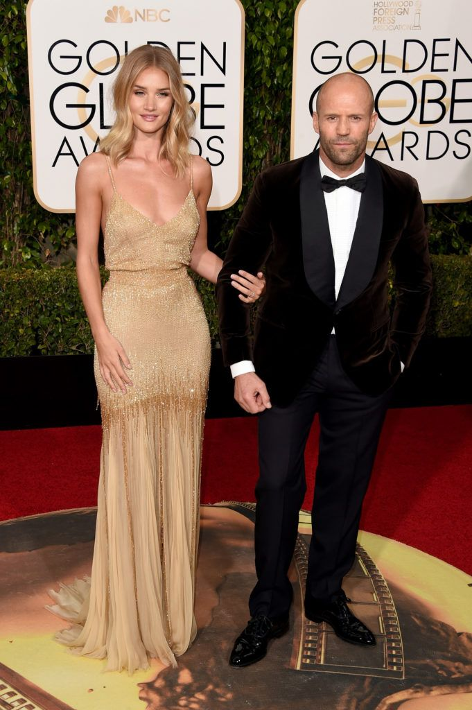 BEVERLY HILLS, CA - JANUARY 10:  Actors Rosie Huntington-Whiteley and Jason Statham attend the 73rd Annual Golden Globe Awards held at the Beverly Hilton Hotel on January 10, 2016 in Beverly Hills, California.  (Photo by Jason Merritt/Getty Images)