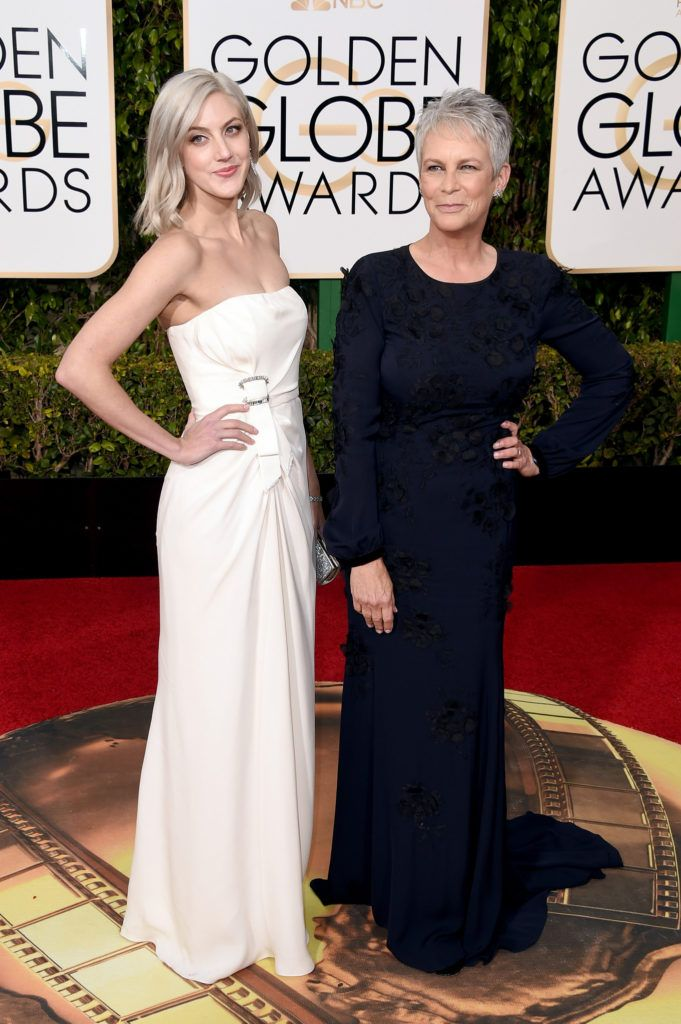 BEVERLY HILLS, CA - JANUARY 10:  Actress Jamie Lee Curtis (R) and Annie Guest attend the 73rd Annual Golden Globe Awards held at the Beverly Hilton Hotel on January 10, 2016 in Beverly Hills, California.  (Photo by Jason Merritt/Getty Images)