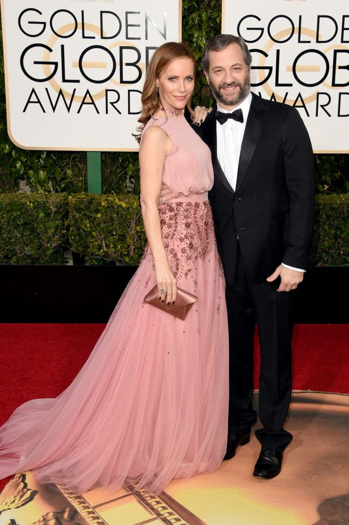 BEVERLY HILLS, CA - JANUARY 10:  Actress Leslie Mann and director Judd Apatow attend the 73rd Annual Golden Globe Awards held at the Beverly Hilton Hotel on January 10, 2016 in Beverly Hills, California.  (Photo by Jason Merritt/Getty Images)