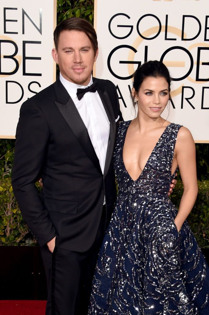 BEVERLY HILLS, CA - JANUARY 10:  Actors Channing Tatum (L) and Jenna Dewan Tatum attend the 73rd Annual Golden Globe Awards held at the Beverly Hilton Hotel on January 10, 2016 in Beverly Hills, California.  (Photo by Jason Merritt/Getty Images)
