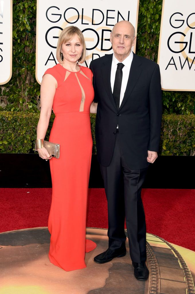 BEVERLY HILLS, CA - JANUARY 10:  Actor Jeffrey Tambor (R) and Kasia Ostlun attend the 73rd Annual Golden Globe Awards held at the Beverly Hilton Hotel on January 10, 2016 in Beverly Hills, California.  (Photo by Jason Merritt/Getty Images)