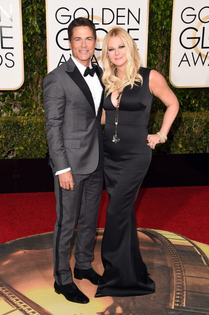 BEVERLY HILLS, CA - JANUARY 10:  Actor Rob Lowe and Sheryl Berkoff attend the 73rd Annual Golden Globe Awards held at the Beverly Hilton Hotel on January 10, 2016 in Beverly Hills, California.  (Photo by Jason Merritt/Getty Images)