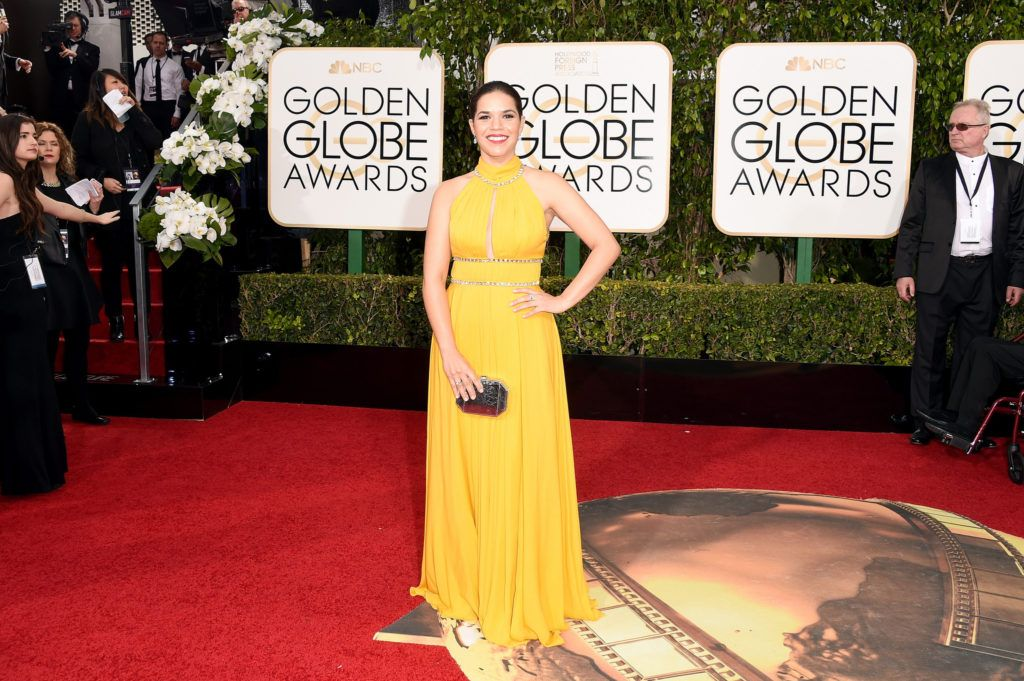 BEVERLY HILLS, CA - JANUARY 10:  Actress America Ferrera attends the 73rd Annual Golden Globe Awards held at the Beverly Hilton Hotel on January 10, 2016 in Beverly Hills, California.  (Photo by Jason Merritt/Getty Images)