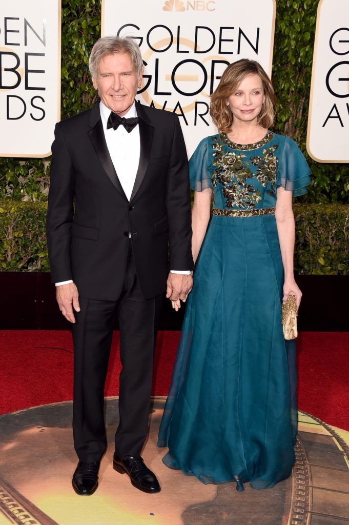 BEVERLY HILLS, CA - JANUARY 10:  Actors Harrison Ford (L) and Calista Flockhart attend the 73rd Annual Golden Globe Awards held at the Beverly Hilton Hotel on January 10, 2016 in Beverly Hills, California.  (Photo by Jason Merritt/Getty Images)