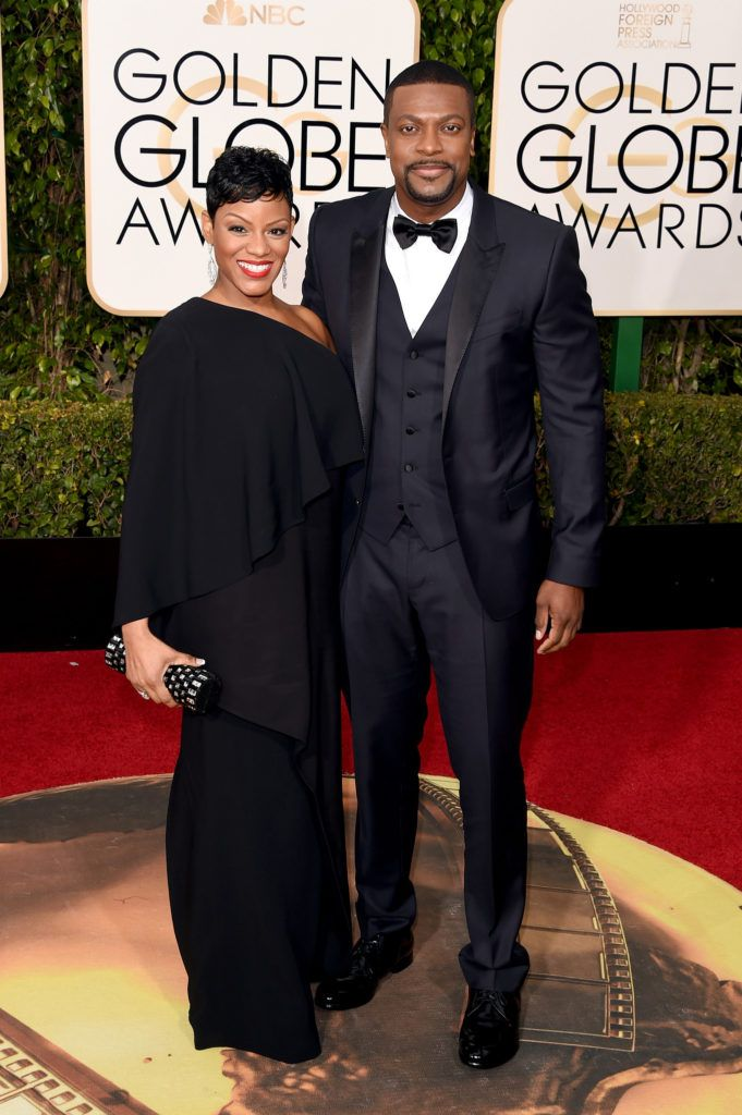 BEVERLY HILLS, CA - JANUARY 10:  Actor Chris Tucker (R) and Cynne Simpson attend the 73rd Annual Golden Globe Awards held at the Beverly Hilton Hotel on January 10, 2016 in Beverly Hills, California.  (Photo by Jason Merritt/Getty Images)